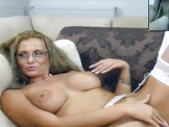 Sexy mature milf masturbating with young guy