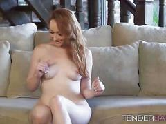 Sexy redhead crystal clark plays her pussy in the shower