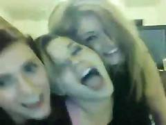 3 girls have fun on webcam