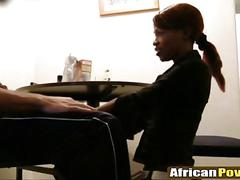 Ebony milf loves to fuck and suck hard dick in front of the camera