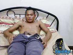 Cute asian twink joshua pleasures himself in his bedroom