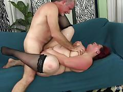 Redhead bbw gets her pussy drilled