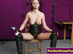 Brunette plastered with cum