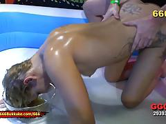 blowjob, hardcore, milf, german, gangbang, piss, kinky, peeing, fetish, bukkake, tattoos, pissing
