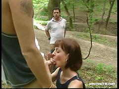 brunette, blowjob, hardcore, cumshot, facial, outdoor, threesome, natural tits, vintage, retro