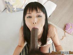 big cock, blowjob, interracial, babe, sucking, asian