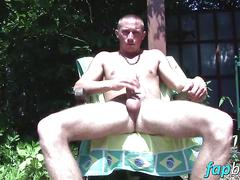 Hot dude armani enjoys jacking off his dick under the sun