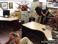 Ex military agree to gets his butt hole by two horny cock in the shop