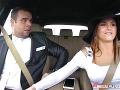 barbara bieber, brunette, blowjob, cumshot, car, reverse cowgirl, rider, ride, spunk, sucking, blow