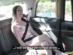 Hot babe pays for her taxi drive with a blowjob