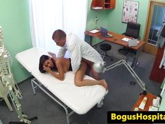 Jizzed busty patient follows doctors advise