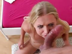 Young blonde russian gets her throat pounded