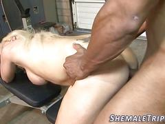 Shemale gets bareback sex blowjob