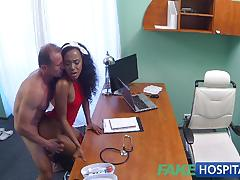Horny doctor fucks ebony patient