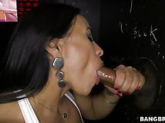big ass, babe, interracial, latina, gloryhole, blowjob, brunette, from behind, glory hole loads, bangbros network, becca diamond