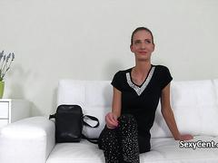 Skinny babe jerking cock on casting
