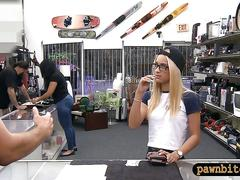 Blonde with glasses gets her pussy banged by pawn guy