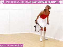 Vr bangers - dillion and pristine scissoring after naked racquetbal