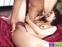 Asian brunette loves hard cock