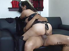 Latina eats cum during fetish revenge fuck