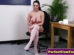 Brunette plastered with thick cum