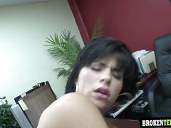 A hot brunette jenna wearing a red unmentionables and being fuck up