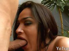 Huge juggs tranny gets her ass slammed hard and deep