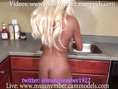 Cleaning kitchen naked until step brother walks in demands ass & tits or telling