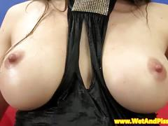 Pissdrenched busty babe pumps her pussy