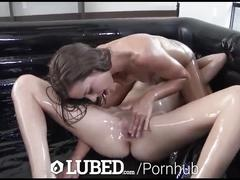 Lubed - peyton coast pushes ally tates head on lubed cock in threesome