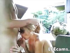 Blonde wife with big boobs blowjob