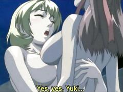 Anime babes making out in a sex ritual