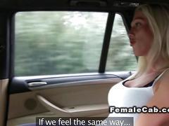 Horny lesbian licks female fake taxi driver