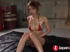 Oiled up sexy japanese