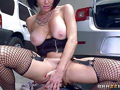 veronica avluv, brunette, blowjob, riding, doggystyle, cumshot, facial, car, cowgirl, mature, sucking