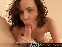Yummy blowjob and cumshot in bedroom with katie ives