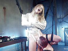 blonde, bondage, lesbians, babe, lesbian domination, pussy licking, fingering, electro bdsm, straightjacket, electro sluts, kink, mona wales, mistress kara