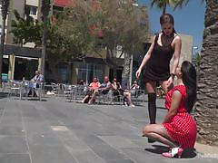 femdom, bdsm, submissive, babe, outdoor, handcuffed, public disgrace, on knees, ball gag, public disgrace, kink, susy gala, steve holmes, tina kay