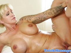 Busty inked masseuse railed in shavedpussy