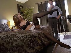 Nylons sn 5 babe britney amber wears lingerie as she fucks