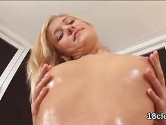 Sweet sweetie is gaping yummy cunt in close-up and climaxing