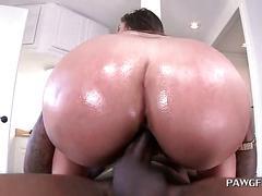 Oily ass slut riding fat shaft in reverse