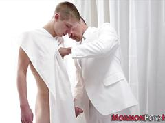 Mormon elder ass fingered blowjob