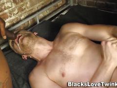 Whitey rides black cock masturbation