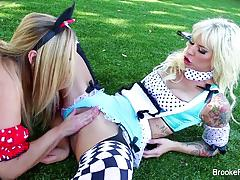 brooke brand, olivia austin, hardcore, big tits, blonde, milf, babe, lesbian, outdoor, pornstar, mom, mother, girl on girl, big boobs, skinny, costume, outside