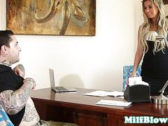 Bossy milf sucks bloke off in her office