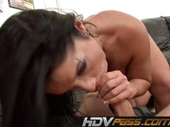 Brunette monica santhiago deepthroat and anal fuck