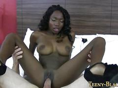 Skinny black teen spunked