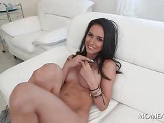Hot pussy brunette doing huge black penis