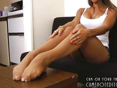 Hot pantyhose feet tease